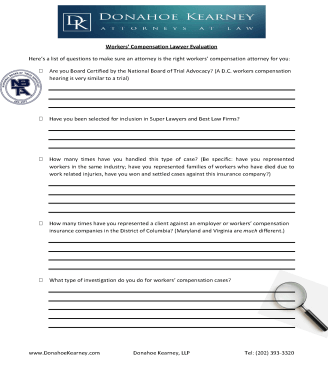 Workers' Compensation Lawyer Evaluation Form